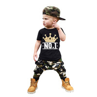 Wholesale kids boy panties resale online - Toddler Kids Baby Boy Letter NO1 Tshirt Tops Camouflage Shorts Outfits Clothes Set Kids Cotton Tops Panties M Years Clothin