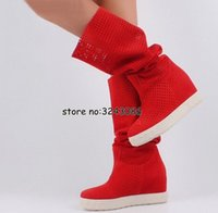 Wholesale black suede wedge long boots resale online - Top Quality Lady Fashion Hidden Wedge Platform Cut out Sandals Boots Woman Rome Style Suede Knee High Long Boots Shoes