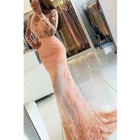 uzun dantel açık arka balo elbiseleri toptan satış-Seksi Mermaid Dantel Jewel O-Boyun Gelinlik Uzun Kollu Açık Geri Şeffaf Parti Balo Abiye Aplike Vestido De Festa