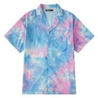 shirt-anzug für männer großhandel-Lose Krawattenhemd Kurzarm 2019 Sommer Anzug neue Mode mittel lange runde Kleidung Männer und Frauen Kleidung Shirts