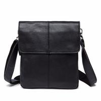 erkek küçük çanta toptan satış-Messenger Çanta erkek Hakiki Deri omuz çantası erkekler için deri adam moda Küçük Flap erkek Crossbody Çanta erkek çanta 8006 #