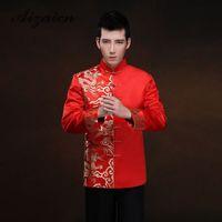 ropa roja china al por mayor-Rojo, manga larga, novio, tostadas, ropa, vestido chino, dragón, hombres, satén, cheongsam, top traje, traje tang vestido de novia, vestido tradicional
