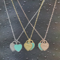Wholesale double locket necklace for sale - Group buy Valentine s Day gift double heart Enamel titanium Steel Necklace for women gift Jewelry not fade color with sweat