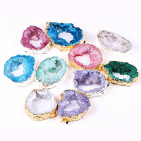 Wholesale agate slice gift for sale - Group buy Natural Agate Geode Slice Pendant Drusy Crystal Quartz Electroplated Gold Color Edged Slice Woman Jewelry Wedding Gifts