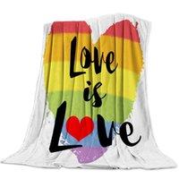 Wholesale love coral resale online - Soft Warm Coral Fleece Blanket Lgbt Pride Rainbow Love Winter Sheet Bedspread Sofa Throw Light Thin Flannel Blankets