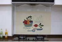 Wholesale oil proof kitchen wallpaper resale online - Cartoon kitchen oil proof sticker high temperature resistant tile stick stove top oil proof waterproof stick lampblack stick wallpaper