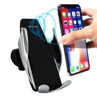 evrensel şarj alıcısı toptan satış-S5 Otomatik Sıkma Kablosuz Araç Şarj Tutucu Alıcı Dağı Akıllı Sensör 10W Hızlı iP Samsung Universal Telefonlar için Şarj Şarj