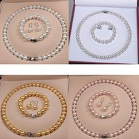 High Quality Natural shell beads Women Bridal Necklace Bracelet and Earrings Wedding Jewelry Sets 5 styles for choices