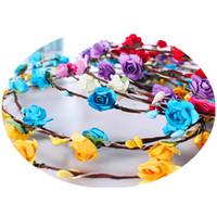 cabelo flor coroa coroa venda por atacado-Flashing strings LED Brilho Coroa de Flores Headbands Light Partido Rave Floral Guirlanda de Cabelo Luminosa Coroa de Flores de Casamento Da Menina de crianças brinquedos