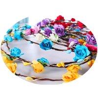 ingrosso la fascia della corona dei fiori-Lampeggiante stringhe di LED Glow parte superiore del fiore del partito della luce Fasce Rave floreale dei capelli della ghirlanda luminosa Corona Wedding Flower Girl bambini Giochi