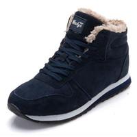 blaue keilstiefel großhandel-2019 Männer Stiefel Damen Winterschuhe Mode Schnee Stiefel Schuhe Ankle Herren Schuhe Winterstiefel Schwarz Blau