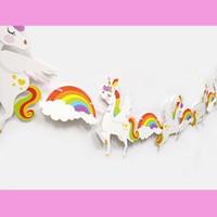 bandera guirnalda al por mayor-Unicornio Feliz Cumpleaños Bandera bandera Niños Unicornio Suministros para Fiestas Rainbow Unicorns Garland Banderas Decoración Del Partido favor FFA1520