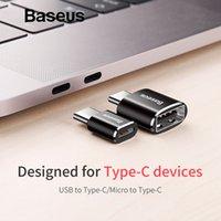 otg fişi toptan satış-Baseus Mikro USB Tip C OTG Adaptör Tip-c Erkek Mikro USB Kadın Şarj Fiş Adaptörü Dönüştürücü Mikro USB USB-C Adaptörü