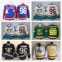 movie worn 도매-마이티 덕스 영화 96 Charlie Conway Jersey 착용 1993-94 Green 스티치 봉제 애너하임 오리 빈티지 Charlie Conway Retro Hockey Jerseys