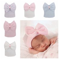 Wholesale winter tires for sale - Group buy Newborn Big Bow Hats Baby Crochet Knit Caps Infant Skull Beanie Winter Warm Striped Ribbon Bowknot Tire Cap style RRA2224