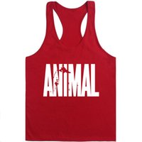 chaleco trasero muscular al por mayor-Animal Stringer Bodybuilding Tank Top Sólido Gym Singlet Muscle Mens Racer-back Chaleco Tee culturismo Stringer Tank Top hombres musculation