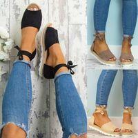 sandalias de verano de tacón bajo al por mayor-Sandalias de mujer Moda Tacones bajos Sandalias para los zapatos de verano Mujer Correa del tobillo Pisos Sandalias Zapatos Zapatos inferiores suaves ocasionales 35-43 envío gratis