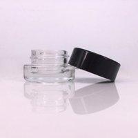 schwarze glasgläser kosmetik großhandel-Glas Stash jar Behälter 3ml 5ml individuelles Logo fot dab rig Wachs vape Stift rosin Fall mini kleine Kosmetikdose mit schwarzen Deckeln