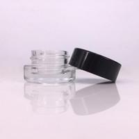 kosmetikgläser schwarze deckel großhandel-Glasbehälter Glasbehälter 3ml 5ml Benutzerdefiniertes Logo für Tupfer Wachs Vape Pen Rosin Fall Mini kleines Kosmetikglas mit schwarzem Deckel