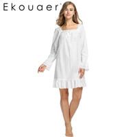 long sleeve white nightgown großhandel-Wholesale-White Nachtwäsche Schlaf Kleid Langarm Frauen Baumwolle Nachthemden Sexy Long Robe Home Kleid Nachthemd Sommer Wear