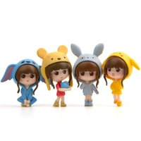 Wholesale accessories for action figures for sale - Group buy 4 styles Beautiful Girl cartoon pikachu Bear cap PVC Action Figure Toys Doll Collection Model Toys for Children Gift LA71