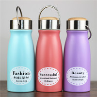 Wholesale fashion bamboo handles resale online - Fashion Student Cartoon Milk Bottle Children Stainless Steel Portable Eco Friendly Water Bottle Bamboo Lid With Handle