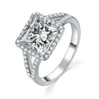 synthetische diamantprinzessin großhandel-2CT Princess Cut Synthetic Diamond Hochzeit Aniversary Ring Erstaunliche Qualität Echte Massiv Sterling Silber Ring Weißgold Abdeckung Schmuck