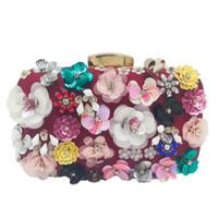Wholesale bridal european handbags resale online - Socialite Women Flower Evening Bags Wedding Party Bridal Beaded Purse Crystal Clutch Handbag Bolso Fiesta Mujer