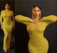 celebridade oscar vestidos de noite venda por atacado-2019 Oscar Beyonce celebridade vestidos no tapete vermelho Sparkly surpreendente cristal frisada de Bell Long Sleeve Mermaid ocasião Evening Partido vestido