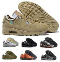 erkekler için kahverengi ayakkabı toptan satış-Erkek 2019 90 Kapalı Koşu Ayakkabı Sneakers Adam Çöl Cevher Kahverengi Havalandırma Moda Tasarımcıları Lüks Klasik 90 s Indirim Eğitim Spor ayakkabı