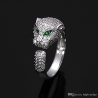Wholesale 925 sterling silver ring zircon for sale - Group buy European and American brand new sterling silver leopard head micro encrusted full zircon adjustable ring female fashion engagement ring