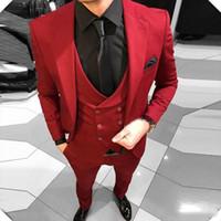 erkekler için gümüş renkli balo kıyafeti toptan satış-2019 erkek Kırmızı Çentikli Yaka Düğün Takımları Akşam Parti Balo damat Custom Made Slim Fit Casual Üç Adet İyi Adam Smokin