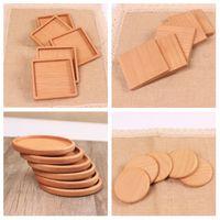 holztisch matten untersetzer großhandel-Holz Untersetzer Holz Holz wärmeisoliert Pad Teetasse Pads Isolierte Trinkmatten Teekanne Tischset Getränkehalter T2I5297