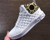 ingrosso marche di scarpe di vestito superiore per gli uomini-18 Nuovo arrivo Top Designers Sneakers da uomo Medusa in vera pelle High-top classici di lusso da uomo scarpe casual di marca Dress Shoes38-44