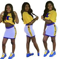 Wholesale yellow swim skirt for sale – plus size C Letter Tracksuits Women Short Skirt Set Short Sleeve Crop Tops Mini Dresses Summer Sportswear Outfit OOA6897