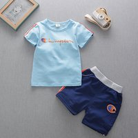 Wholesale baby boys clothing sets online - Baby Boys Summer Clothing Sets Kids Champions Tracksuits Side Stripe T shirt Shorts Children Outdoor Sports Piece Outfits Clothes B4251
