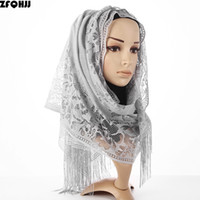 Wholesale polyester hijabs for sale - Group buy ZFQHJJ New Women Cotton Polyester Yarn Floral Lace Scarf Shawl Tassels Party Wedding Lace Veil India Muslim Hijabs Scarves