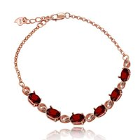 pulsera de piedra granate rojo al por mayor-Almei Rose Gold Red Garnet Stone Bracelet, Pulsera de plata de ley 925 para mujer, Pulsera de piedra roja para niñas Mujeres Fb054 Y19052301