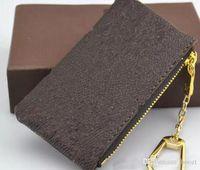bolsa de carteira de anel venda por atacado-Chave das mulheres Carteira Bolsa Bolsa Chave Charme França Famoso Mono Grama Lona Marrom Branco Quadriculado Anel Chave
