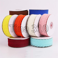 Wholesale different colors flowers resale online - 19 different colors meters long lace ribbon gift packaging decorative ribbon bow flower decorative ribbon T3I5230