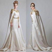 zuhair murad satin venda por atacado-Fantasia elegante Zuhair Murad 2019 vestidos de noite apliques de ouro sereia cetim vestidos de baile com capa de trem de varredura