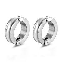 Wholesale ear holes earring resale online - Titanium Steel Men s Ear hole free Ear Clips Street Hip hop Men s Round Ear Clips Earrings Multi color Optional