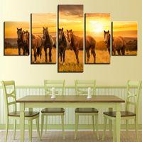 картины на природе оптовых-HD печатный семейный декор спальня картины стены 5 шт. животное лошадь Солнце закат естественный пейзаж модульный холст фотографии искусство