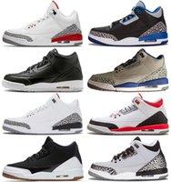 sapatos coreanos venda por atacado-venda quente novos tênis de basquete puros 3s brancas homens retros 3 Branco Azul coreia Flight International Cement Men Sport Shoes Sneaker