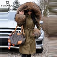 ingrosso polsini del colletto di pelliccia-FURSARCAR Fashion New Real Fur Parka Women Luxury Winter 80 CM Cappotto lungo con collo in pelliccia di procione e polsini Parka casual casual