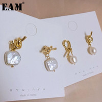 Wholesale s shaped earrings for sale - Group buy WKOUD EAM Jewelry Fashion Temperament Square Shaped Faux Pearl Knotted Asymmetrical Earrings Women s Accessories S R1304