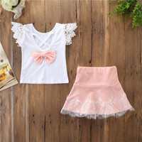 Wholesale baby girl clothing wholesale for sale - Baby Girl Lace Outfit Summer Clothes Kids Lace Sleeveless T Shirt Top Pink Lace Skirt set Children Clothing Set