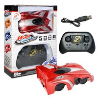 Wholesale wall cars toys resale online - Wall Climber Acrobatics Telecar Bright Lights Remote Control Cars Four Channel Electric Toy Cars USB Charging zl O1