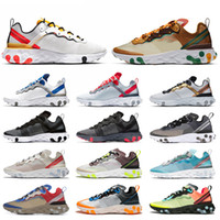 Wholesale mens lace free running shoes resale online - React Element UNDERCOVER Women Mens Running Shoes Tour Yellow Volt Racer Desert Sand Game Royal Blue reacts Sports Sneakers free socks