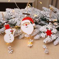Wholesale santa claus paintings resale online - Wooden Painted Christmas Tree Ornaments Santa Claus Snowman Snowflake Hanging Pendant Christmas Tree Decorations Navidad Decor